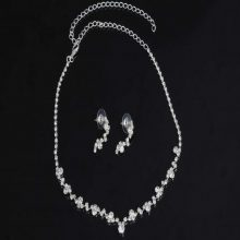 Silver Crystal Choker Necklace + Earrings Set