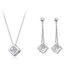 Cube Earrings and Pendant Necklace Jewelry Set