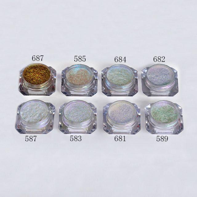 8Pcs/Set Nail Chrome Pigment Mirror Glitter Shinning Powder Dust Gorgeous Nail Art Decorations